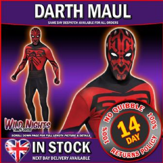 "ADULT MENS STAR WARS DARTH MAUL 2ND SKIN SIZES 42"" - 46"" CHEST"